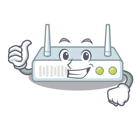Thumbs up router is installed in cartoon wall