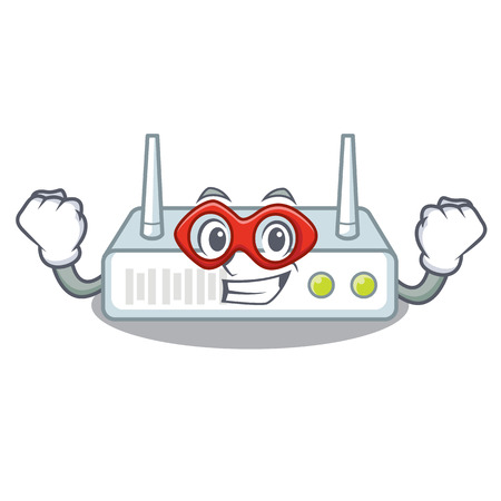 Super hero router is installed in cartoon wall