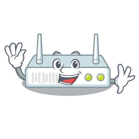 Waving router is installed in cartoon wall