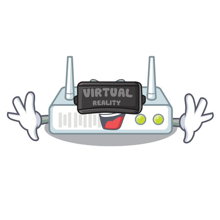 Virtual reality router isolated with in the mascot