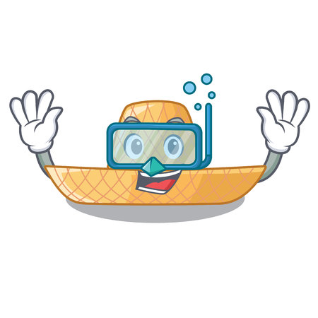 Diving straw hat in the shape mascot vector illustration