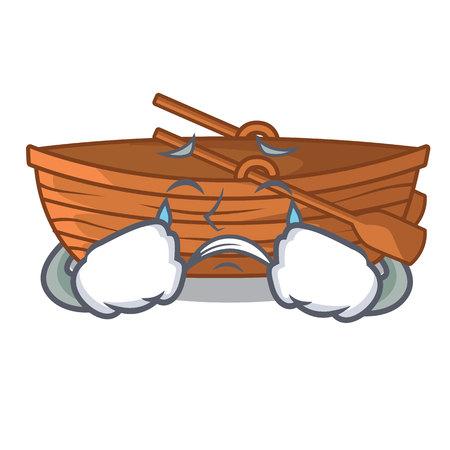 Crying wooden boat sail at sea character vector illustration