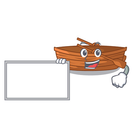 With board wooden boat in the cartoon shape vector illustration