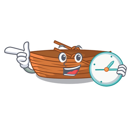 With clock wooden boats isolated with the cartoons illustration vector