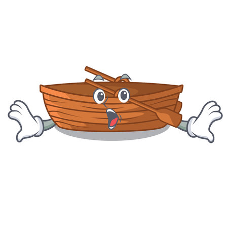 Surprised wooden boat sail at sea character vector illustration