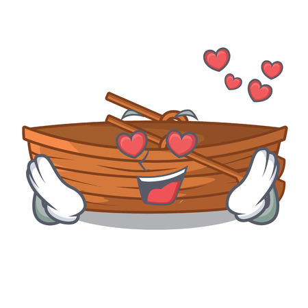 In love wooden boat sail at sea character vector illustration