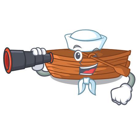 Sailor with binocular wooden boat sail at sea character vector illustration
