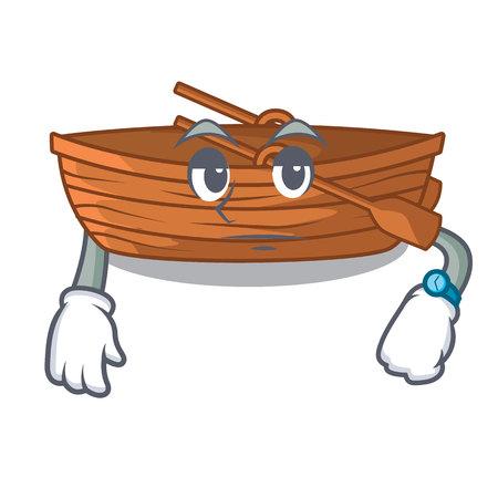 Waiting wooden boat beside the mascot beach vector illustration Illustration