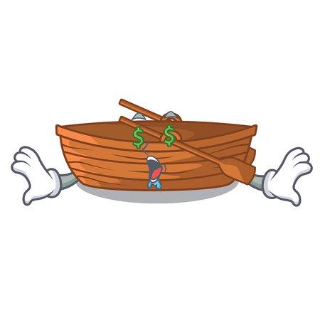 Money eye wooden boat beside the mascot beach vector illustration Ilustração