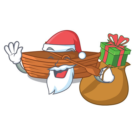 Santa with gift wooden boat beside the mascot beach vector illustration Ilustração