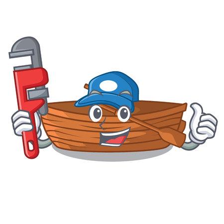 Plumber wooden boat beside the mascot beach vector illustration