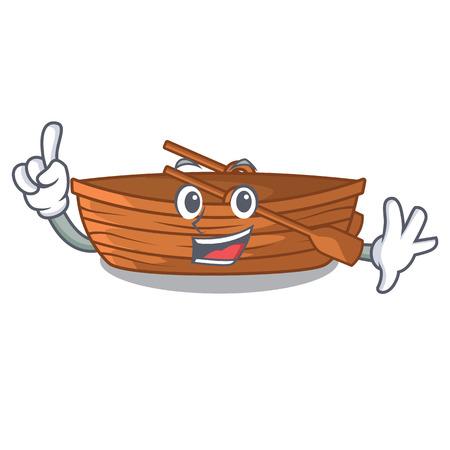 Finger wooden boat beside the mascot beach vector illustration