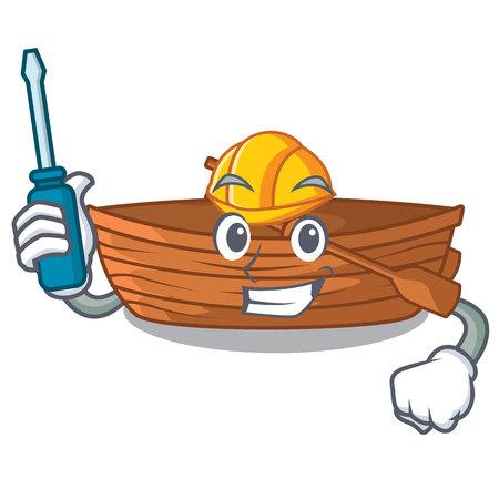 Automotive wooden boat beside the mascot beach vector illustration Ilustração