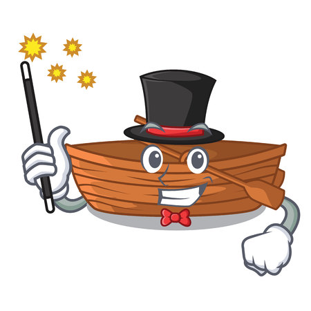 Magician wooden boat beside the mascot beach vector illustration