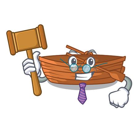 Judge wooden boat beside the mascot beach vector illustration