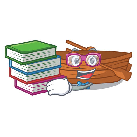 Student with book wooden boat beside the mascot beach vector illustration Ilustração