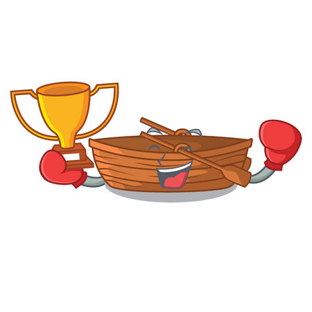 Boxing winner wooden boat beside the mascot beach vector illustration