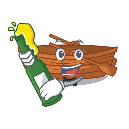 With beer wooden boat beside the mascot beach vector illustration