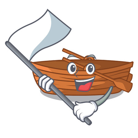 With flag wooden boat beside the mascot beach vector illustration