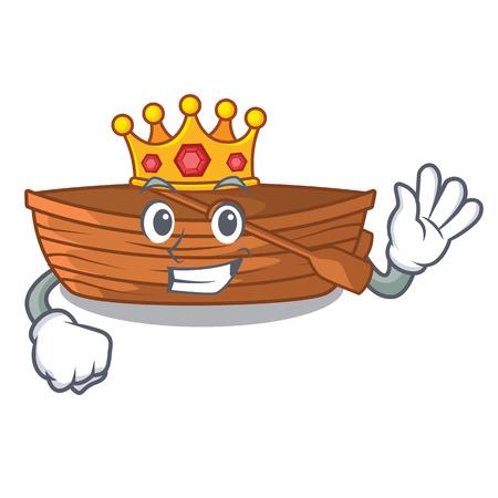 King wooden boat beside the mascot beach vector illustration