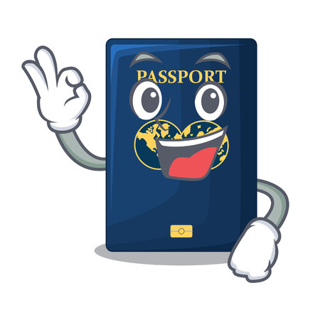 Okay blue passport above character wooden table vector illustration