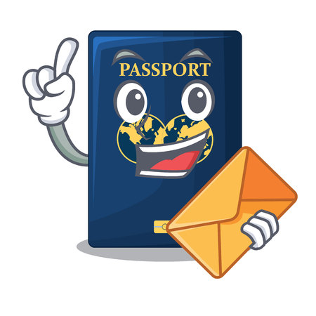 With envelope blue passport above character wooden table vector illustration Иллюстрация