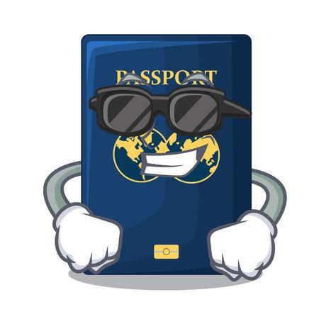 Super cool blue passport above character wooden table vector illustration Ilustração
