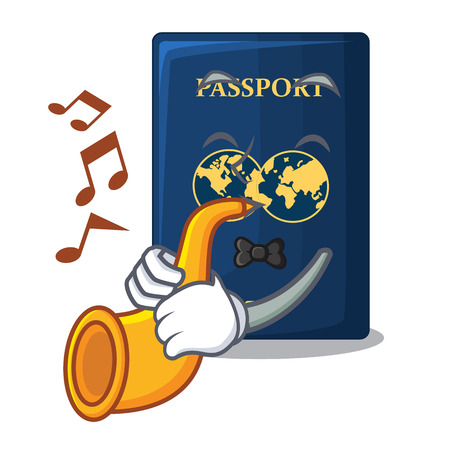 With trumpet blue passport in the mascot bag
