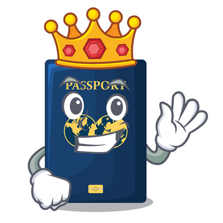 King blue passport isolated with the cartoonsillustration vector Illustration