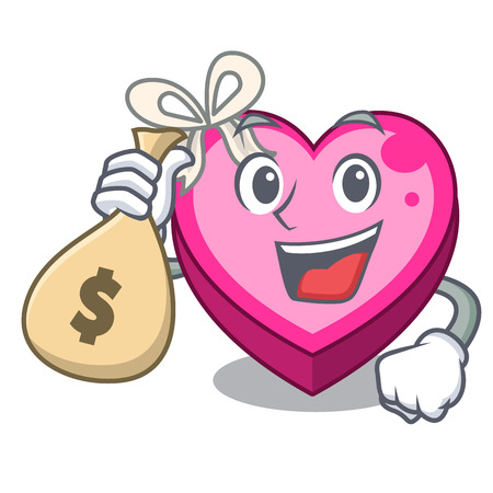 With money bag box heart in shape of mascot vector illustration