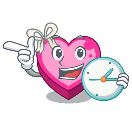 With clock Heart box isolated in the character vector illustration Illustration