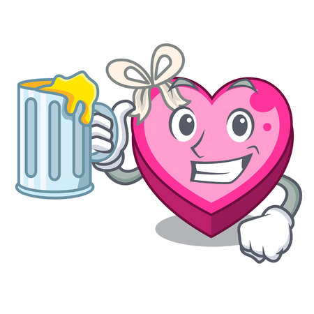 With juice heart box above wooden cartoon table vector illustration