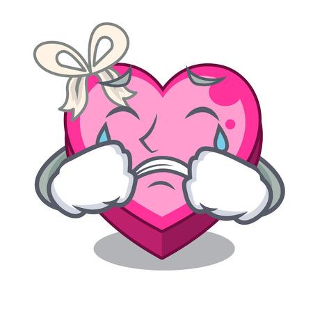 Boîte de coeur qui pleure au-dessus de l'illustration vectorielle de table de dessin animé en bois