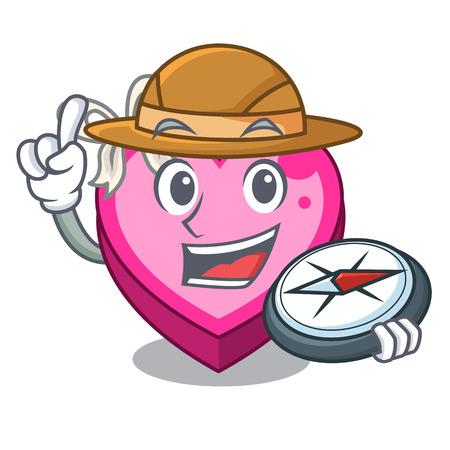 Explorer heart box above wooden cartoon table vector illustration