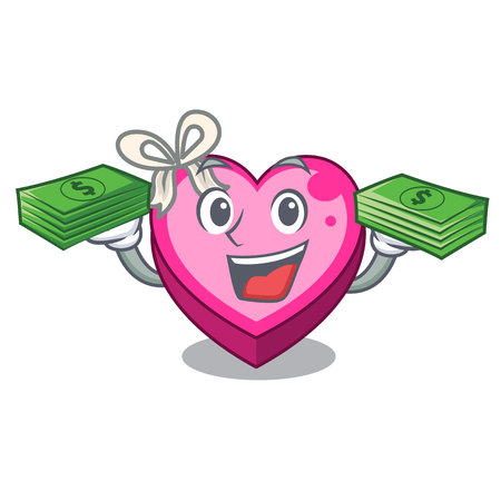 With money bag heart box above wooden cartoon table vector illustration