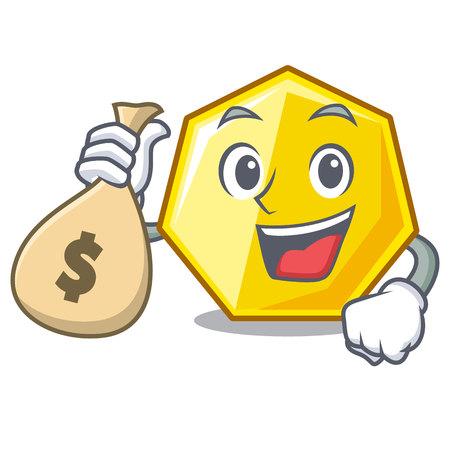 With money bag heptagon in the a cartoon shape vector illustration Ilustração