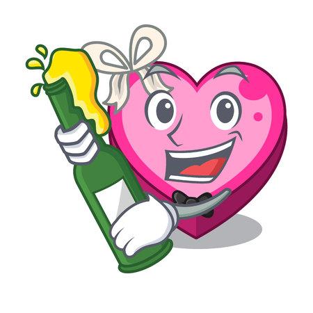 With beer heart box in the cartoon sleep vector illustration