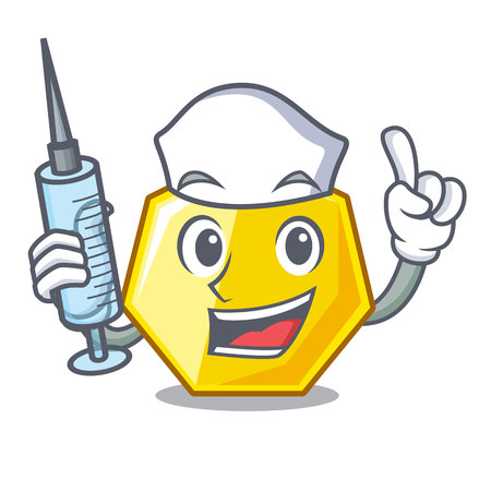 Nurse heptagon isolated with in the mascot vector illustration Illustration