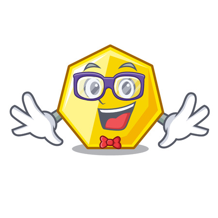 Geek heptagon isolated with in the mascot vector illustration Ilustração