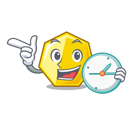 With clock heptagon isolated with in the mascot vector illustration Illustration