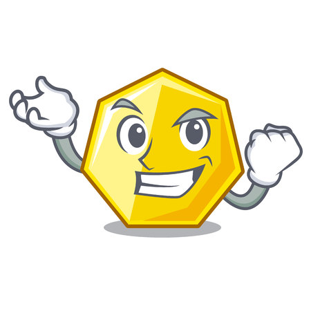 Successful heptagon isolated with in the mascot vector illustration