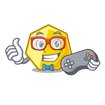 Gamer heptagon sticks in the character wall vector illustration Stock Illustratie