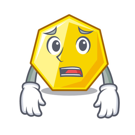 Afraid heptagon sticks in the character wall vector illustration