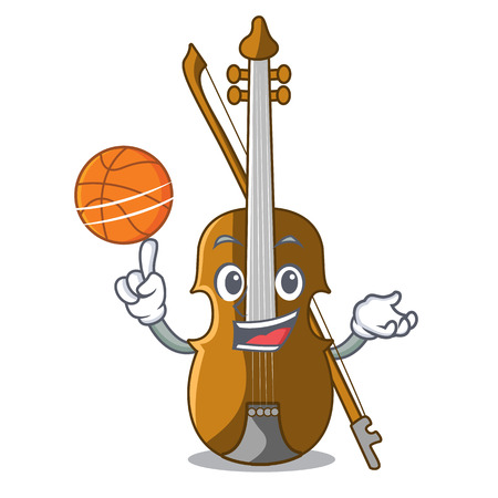 With basketball violin in the a character shape vector illustration Illustration