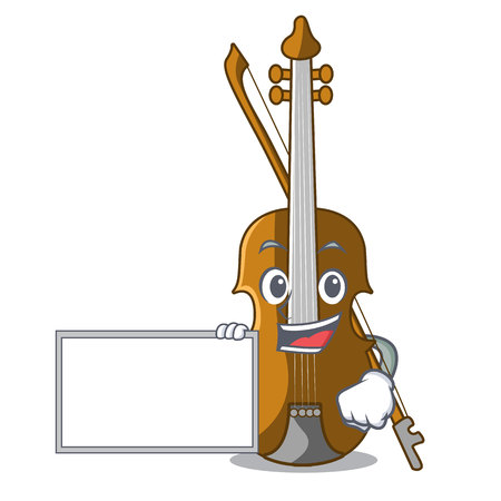 With board violin in the a character shape vector illustration Illustration