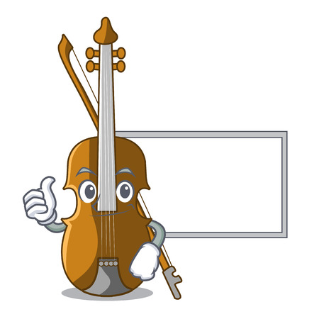 Thumbs up with board violin in the a character shape vector illustration