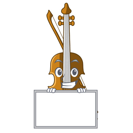 Grinning with board violin in the a character shape vector illustration