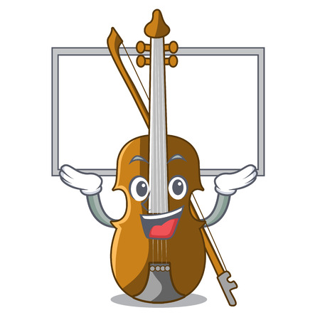 Up board violin in the a character shape vector illustration