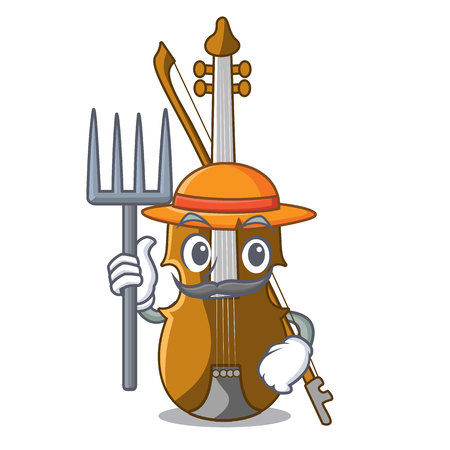Farmer violin in the a character shape vector illustration