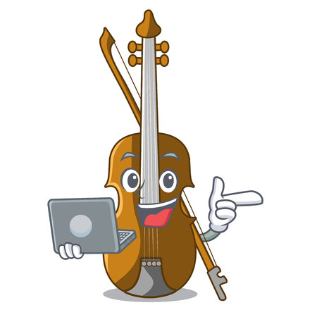 With laptop violin in the a character shape vector illustration